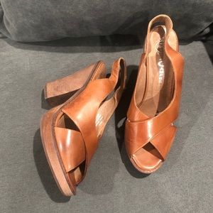Jeffrey Campbell Brown Leather Chunk Heel Sandals